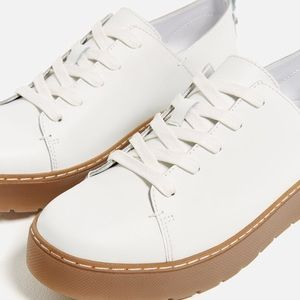 Zara white platform, doc Martin style leather shoe